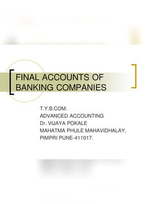 Final Accounts of Banking Companies Schedule